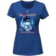 Majestic Clayton Kershaw L.A. Dodgers 2013 MLB NL Cy Young Award Winner Ladies T-Shirt - Royal Blue
