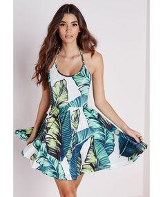 Halterneck Slinky Skater Dress Green Leaf Print - Dresses - Skater Dresses - Missguided