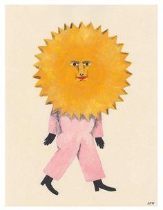 Sun Art Print by Audrey Helen Weber - X-Small Illustrations, Illustration Art, Arte Peculiar, Sun Art, Guache, Will Smith, Framed Art Prints, Art Inspo, Cool Art