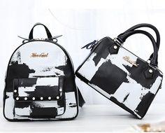 Black and White Plaid Printing Calfskin Handbags