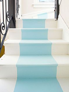 Update your stairs with a quick and easy paint job: http://www.bhg.com/decorating/budget-decorating/cheap/cheap-savvy-decor-design-ideas/?socsrc=bhgpin011314stylishstaircase&page=15