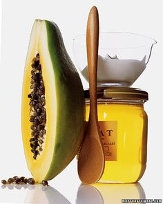face mask for rosy, glowing skin. Papaya + yogurt + honey = blend and leave on for 10 minutes.
