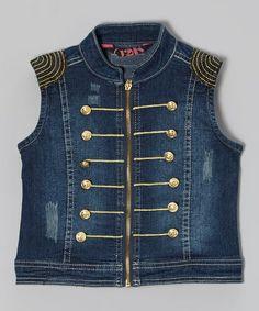 Love this Blue Military Embroidered Denim Vest - Girls by 12K on #zulily! #zulilyfinds