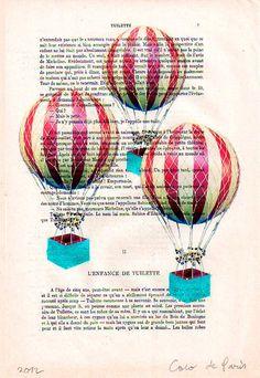 Red Hot Air Balloons: Art Prints Illustration Drawing Poster Digital Print Wall Art Wall Decor Wall Hanging Decorative art