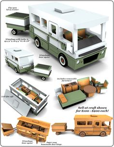 Guildcraft Classic Winnebago with Trailer Wood Toy Plan Set