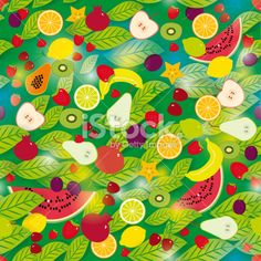 Healthy lifestyle. Fruits and leaves green background seamless pattern Royalty Free Stock Vector Art Illustration
