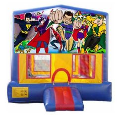 We added a few new banners to increase the number of themes you can make the bounce house! Check out this Superhero themed Bouncer! This unit rents for only $170 for 1-6 hours!