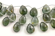 Natural moss aquamarine seafoam green faceted pear by Beadspoint, $69.99