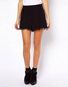 Image 4 of ASOS Shorts with Pom Pom Hem