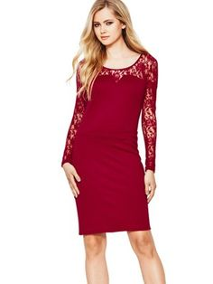 Lace Top and Sleeve Dress, http://www.very.co.uk/definitions-lace-top-and-sleeve-dress/1298287195.prd Daring in red :) #partyinstyle