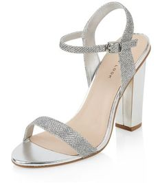 08cfc653ffc9 Silver Glitter Ankle Strap Block Heels