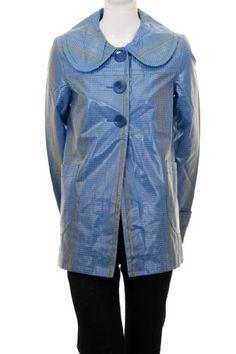 Tulle Dot Pattern Printed Nylon PU Fashion Lined Rain Coat Jacket Blue