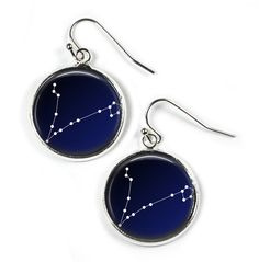 PISCES Constellation Sky Stars Zodiac - Glass Picture Earrings - Silver Plated (Art Print Photo) by RosettaLondon on Etsy
