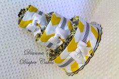 Yellow and Gray Chevron Baby Diaper Cake by Diannasdiapercakes