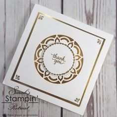 Elegant Handmade Thank You Card made by Sarah's Stampin Retreat using Stampin' Up's Eastern Palace Suite