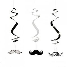 Mustache Party Swirl Decorations | 12ct for $6.25 in Mustache - Theme Parties - Theme & Event Parties