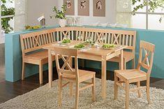 Banco de la esquina con mesa en el grupo de haya maciza Linz chapados con compartimentos Blaha 137 x 177 cm