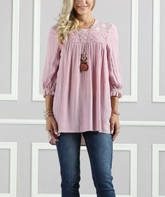 This Dusty Rose Lace-Yoke Hi-Low Tunic - Plus Too by Suzanne Betro is perfect! #zulilyfinds