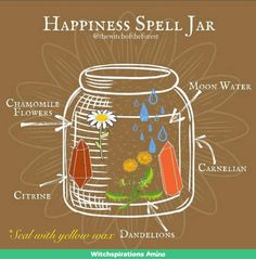 Witchcraft Spell Books, Wiccan Spell Book, Green Witchcraft, Witch Spell, Jar Spells, Magick Spells, Happiness Spell, Happy Jar, Witch Bottles