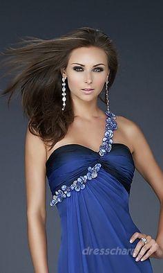 A-Line Chiffon One-Shoulder Long Dress Charm87668