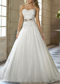 Fashionable Satin & Chiffon A-line Strapless Sweetheart Natural Waist Beaded Wedding Gown With Lace Appliques