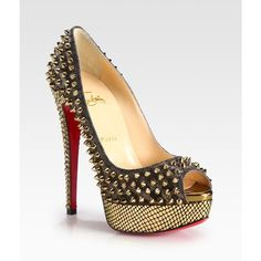 Christian Louboutin Studded Crystal-Heel Platform Pumps found on Polyvore