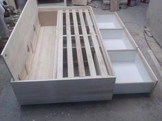 Cama De Una Plaza Con Cajones Y Baúl Para Colchón De 1,90x80 - $ 3.800,00