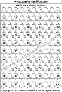 Missing Numbers – 1-100 – One Worksheet | Kindergarten Worksheets ...