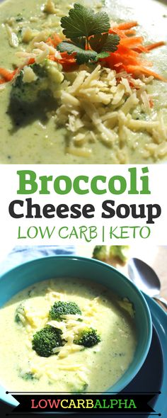 Keto broccoli and cheddar cheese soup https://lowcarbalpha.com/keto-broccoli-cheese-soup/ Easy low carb recipe using xanthan gum and heavy cream to thicken the soup. Perfect for bumping up the fat on a ketogenic diet. Grab some fresh broccoli and let's make healthy keto friendly, tasty soup #lowcarb #keto #lchf #lowcarbalpha