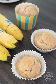 Gesunde zuckerfreie Muffins für Babys und Kleinkinder. Die Muffins mit Banane sind vegan, ohne Butter, Eier und Milch. Wer mag, kann sie mit Frosting zu Cupcakes umwandeln.