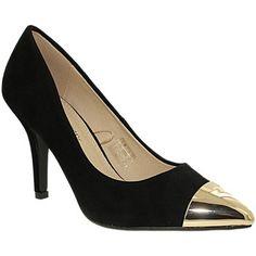escarpin noir bout doré Pumps, Heels, Fashion, Black Pumps Shoes, Heel, Moda, Fashion Styles, Pumps Heels, Pump Shoes
