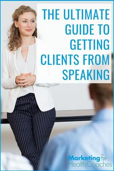 Public speaking is the fastest, lowest cost way to build your health coaching business. Learn EVERYTHING you need to know to make speaking work for you. How To Get Clients, Public Speaking Tips, News Health, Health Tips, Online Marketing, Business Marketing, Content Marketing, Media Marketing, Professional Women