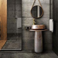 Beautiful Bathrooms, Modern Bathroom, Small Bathroom, Master Bathroom, Bathroom Sink Drain, Sink Faucets, Free Standing Sink Bathroom, Pedestal Sink Bathroom, Pedestal Basin