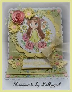 ahae4re is a card i have made using a digi image from crafty sentiments called tess sumer fun,papers free from a mag,promarkers,tonic punch for the pink flower ,an su sizzix  daisy die for the yellow flower,a butterfly punch,card candy and an su sentiment