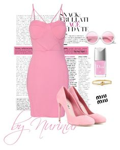 """Pink candy lady"" by nurinur ❤ liked on Polyvore featuring WithChic, Miu Miu, ZeroUV, Carelle and Christian Dior"