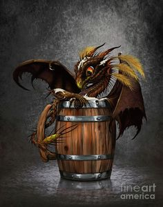 Dark Digital Art - Dark Beer Dragon by Stanley Morrison Dragon Heart, Fire Dragon, Baby Dragon, Cute Fantasy Creatures, Magical Creatures, Dragon Series, Dragon Artwork, Phoenix Artwork, Dark Beer