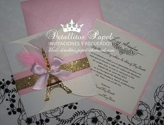 Paris Invitation Quinceañera Invitation Eiffel Invitation