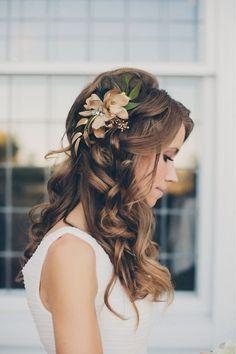 Stunning bridal hairstyle. | Brown Hair | Brunette Hair | Curly Hair | Wavy Hair | Flower |