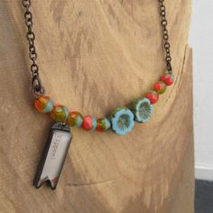 Sentiment pendant, beaded and charm bib necklace, Yippee! necklace  $53