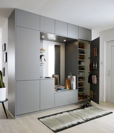 Good design can also turn your hall storage system into part of the home that perfectly matches. Home Room Design, Interior Design Living Room, Living Room Designs, House Design, Wardrobe Door Designs, Wardrobe Design Bedroom, Hall Furniture, Bedroom Furniture Design, Home Entrance Decor