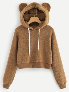 To find out about the Solid Drawstring Teddy Hoodie at SHEIN, part of our latest Sweatshirts ready to shop online today! Girls Fashion Clothes, Teen Fashion Outfits, Girl Outfits, Fall Fashion, Christmas Fashion, Street Fashion, Hoodie Sweatshirts, Hoodies, Teenage Outfits