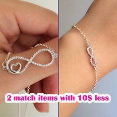 infinity bracelet - infinity necklace - silver infinity jewelry - combination of infinity - infinity with discount - infinity bracelet gift