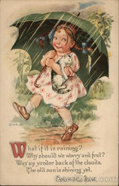 Girl in Flowered Dress Holding a Cat and Green Umbrella
