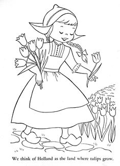 Dutch Girl, : Dutch Girl Picking Tulips Coloring Pages Vintage Embroidery, Embroidery Patterns, Hand Embroidery, Candlewicking Patterns, Colouring Pages, Adult Coloring Pages, Vintage Coloring Books, Cultural Crafts, World Thinking Day