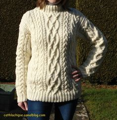 My Irish sweater - My creations on wednesday - Knitting 01 Hand Knitting, Knitting Patterns, Knitting Tutorials, Create Button, Couture, Knitwear, Knit Crochet, Irish, Men Sweater
