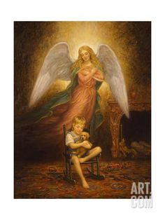 Edgar Jerins Premium Thick-Wrap Canvas Wall Art Print entitled Pals, None Abstract Canvas, Abstract Print, Canvas Art Prints, Canvas Wall Art, Framed Canvas, Framed Prints, Angels Among Us, Angel Pictures, Guardian Angels