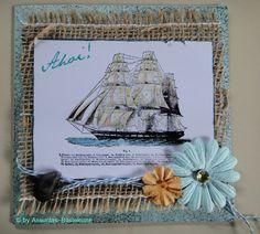 Eine maritime Gruß- und Glückwunschkarte,  gestempelt mit einem Segelschiff