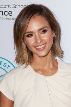 Jessica Alba wears an ombre bob-length hairstyle. Photo: Shutterstock.com