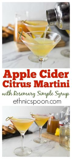 How about the taste of fall in a cocktail? Try this citrus apple cider martini with rosemary infused simple syrup. You will love the sweet, tart and herbal tones in this drink. You can make up a batch of the rosemary simple syrup and keep it on hand for o Easy Drink Recipes, Apple Recipes, Yummy Drinks, Fall Recipes, Apple Tv, Apple Watch, Cocktail And Mocktail, Fall Cocktails, Cocktail Recipes