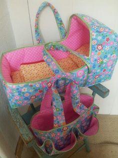 Doll basket. Pattern by Danamadeit. Doll nappy bag, pattern by NoodlePips